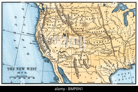 map of the american west in the 1880s stock po