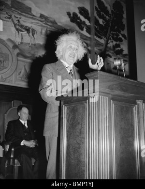 Photo of German theoretical physicist Albert Einstein (1879 - 1955) giving a speech in Washington DC in May 1940. - Stock Photo