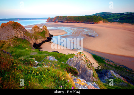 Three Cliffs Bay, Gower peninsula, Wales - Stock Photo