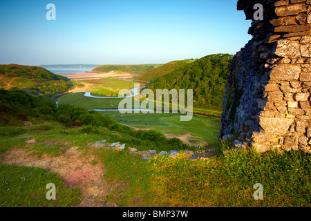 Pennard Castle, Three Cliffs Bay, Gower Peninsula, Wales. - Stock Photo