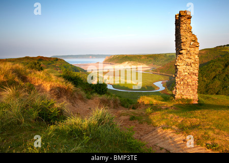 View over Three Cliffs Bay on the Gower peninsula from Pennard Castle - Stock Photo