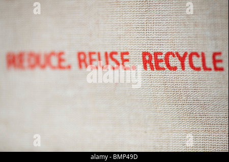 Recycle printed message on the side of a hessian shopping bag - Stock Photo