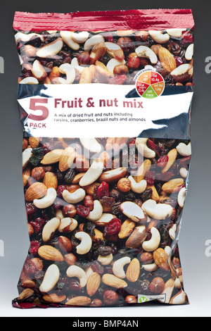 Bag of mixed fruit and nuts - Stock Photo