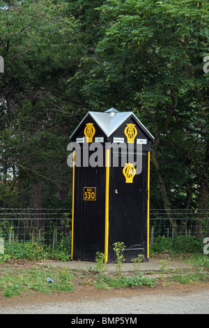 Traditional old AA Box number 530. Brancaster, Norfolk, England - Stock Photo
