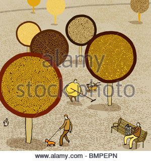 People in park with autumn trees - Stock Photo