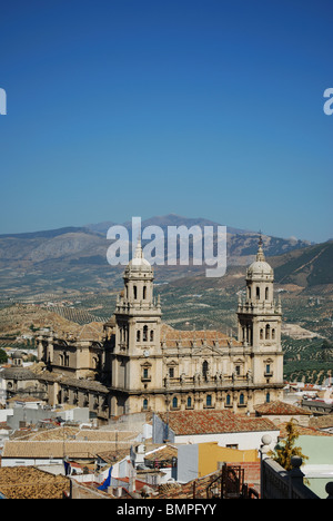 Cathedral with views over the surrounding city rooftops, Jaen, Jaen Province, Andalucia, Spain, Western Europe. - Stock Photo