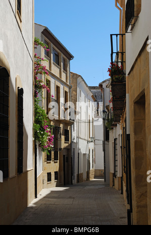 Narrow street in the old town, Baeza, Jaen Province, Andalucia, Spain, Western Europe. - Stock Photo