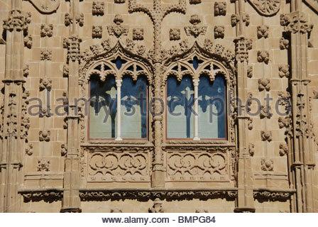 Ornate windows, Palacio de Jabalquinto, Baeza, Jaen Province, Andalucia, Spain, Western Europe. - Stock Photo
