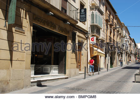 Old town shopping street, Ubeda, Jaen Province, Andalucia, Spain, Western Europe. - Stock Photo