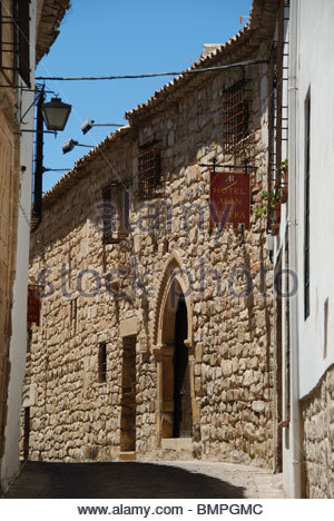Hotel in narrow side street, Ubeda, Jaen Province, Andalucia, Spain, Western Europe. - Stock Photo