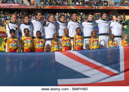 Rustenburg South Africa Royal Bafokeng Stadium World Cup match New Zealand vs Slovakia. New Zealand national anthem. - Stock Photo