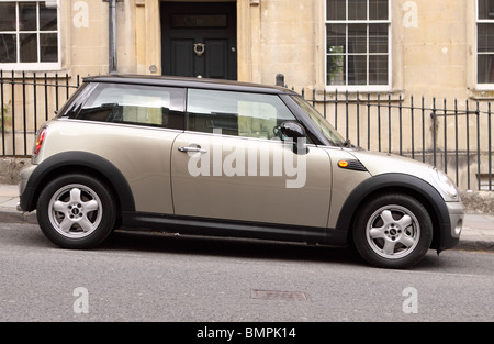 BMW Mini One car parked on a hill in Bath England - Stock Photo