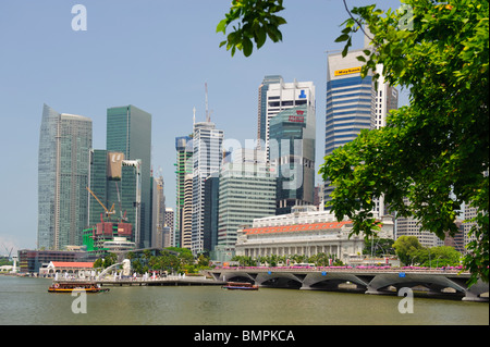 The Fullerton Hotel and Central Business District - Stock Photo