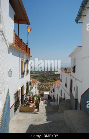 Typical street with views out towards the countryside, Alora, Malaga Province, Andalucia, Spain, Western Europe. - Stock Photo