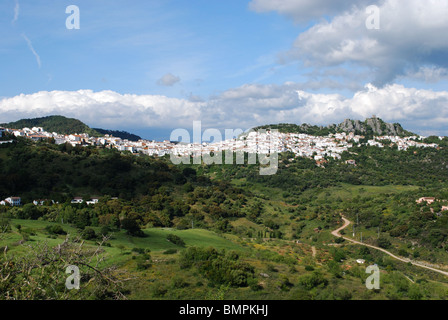 General view of the town, Whitewashed village (pueblo blanco), Gaucin, Malaga Province, Andalucia, Spain, Western - Stock Photo