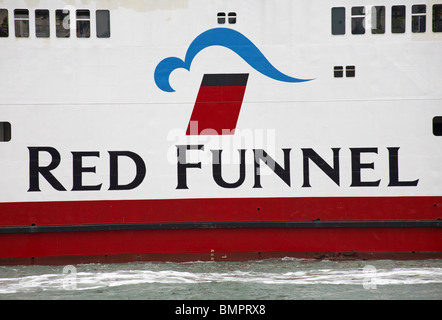 Red Funnel logo - detail on Red Funnel Ferry travelling between Southampton and the Isle of Wight, Hampshire UK - Stock Photo