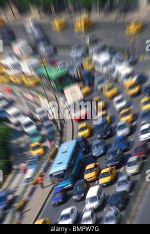 ISTANBUL, TURKEY. Busy rush-hour traffic near Taksim. 2009. - Stock Photo