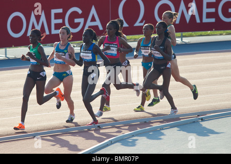 Runners competing in the Women's 5000 meters at the New York Grand Prix, IAAF Diamond League - Stock Photo