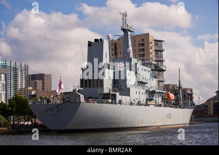 HMS Scott Royal Navy Ocean Survey Vessel moored in Cardiff Bay South Wales UK - Stock Photo