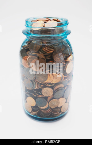 Knoxville, Tennessee, United States Of America; Pennies In A Glass Jar - Stock Photo