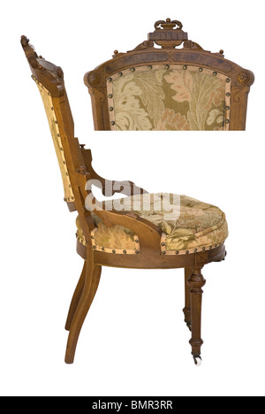 Eastlake Victorian period side & top view of antique upholstered wood carved chair - Stock Photo