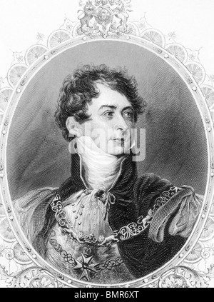 George IV (1762-1830) on engraving from the 1800s. King of Great Britain during 1820-1830. - Stock Photo