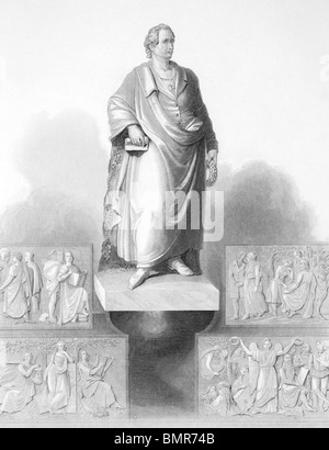 Johann Wolfgang von Goethe (1749-1832) monument in Frankfurt on engraving from the 1800s. German writer and polymath. - Stock Photo