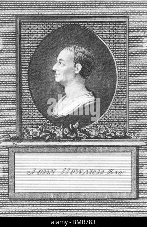 John Howard (1726-1790) on engraving from the 1700s. Philanthropist and first English prison reformer. - Stock Photo