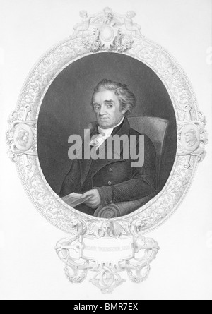 Noah Webster (1758-1843) on engraving from the 1800s. - Stock Photo