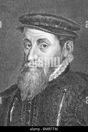 Thomas Gresham (1519-1579) on engraving from the 1800s. English merchant and financier. - Stock Photo