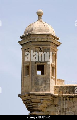Stone Gardjola overlooking the Grand Harbour, Valletta, Malta. - Stock Photo