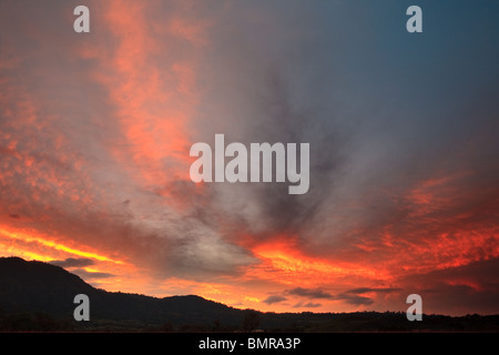 Spectacular colourful skies at dawn at Volcan in the Chiriqui province, Republic of Panama. - Stock Photo