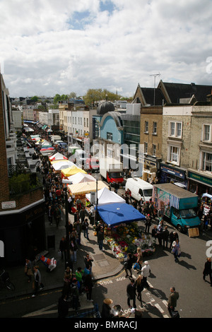 Rooftop view of Portobello Road Market, Notting Hill, London, UK - Stock Photo