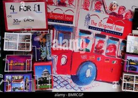 Postcards for sale, London, England, UK - Stock Photo