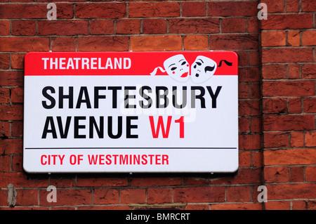 Shaftesbury Avenue theatreland street sign, London, England, UK - Stock Photo