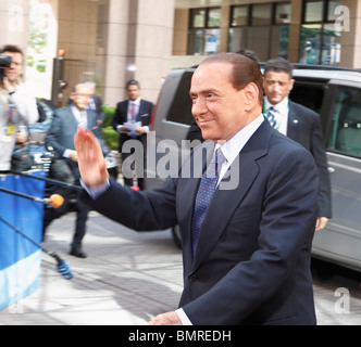 Italian Prime Minister Silvio Berlusconi arriving at the European Council of Ministers in Brussels on 17 June 2010 - Stock Photo