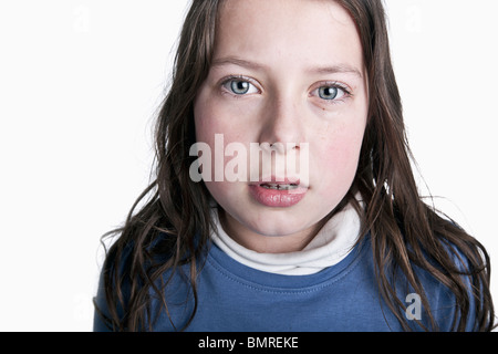 Powerful Shot of an Upset Brown Haired Child - Stock Photo