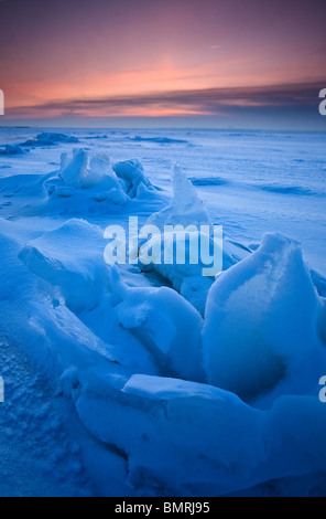 Ice sculptures on the frozen sea at Larkollen in Rygge kommune, Østfold fylke, Norway. - Stock Photo