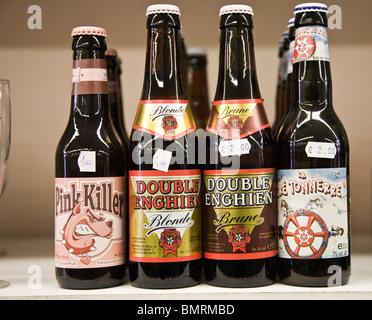 Bottles of Belgium beer - Stock Photo
