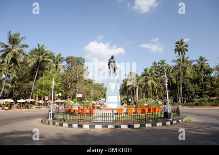 Statue Of Mahatma Gandhi And Local Village Girl ; Mahatma Gandhi Circle ; Old Goa ; Velha Goa ; India - Stock Photo