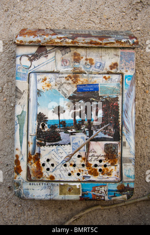 Decorated Italian letter box Lake Garda Italy - Stock Photo