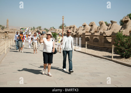 Tourists on a guided tour in the Avenue of Rams, the Temple of Karnak, Luxor, Egypt - Stock Photo