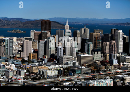aerial view above skyline San Francisco California - Stock Photo