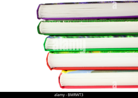 multicolored books stack isolated on white background. horizontal shot - Stock Photo