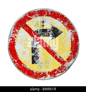 Old scratched no right turn road sign - Stock Photo