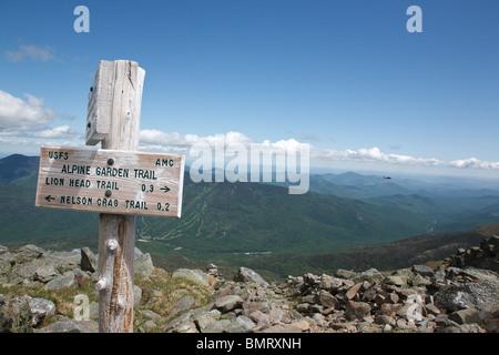 Alpine Garden Trail on the eastern slope of Mount Washington in the White Mountains, New Hampshire USA during bike - Stock Photo