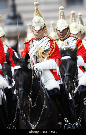 Trooping the Colour . . 12.06.10 The Household Cavalry make their way to Horseguards Parade. - Stock Photo