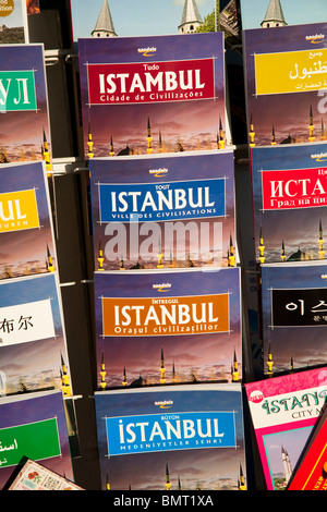 Istanbul travel guide books for sale outside a shop, Istanbul, Turkey - Stock Photo