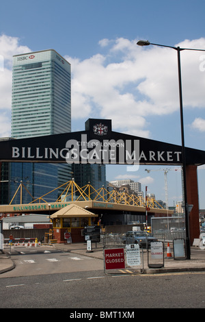 Billingsgate Market with the HSBC Building in the background - Stock Photo