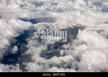 Balkh province Afghanistan. Mazar. Flying over mountains between Kabul and Mazar - Stock Photo